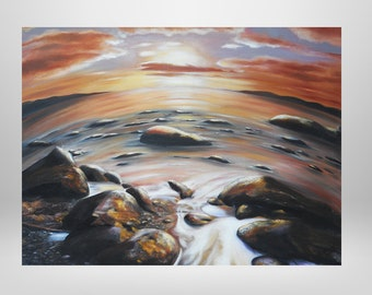 Earth, original oil painting with structure, water