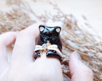 Kuro bear rings set
