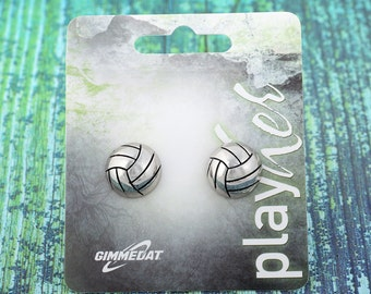 Volleyball Post Earrings, Silvertoned - Great Volleyball Gift! Free Shipping!
