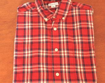 men's steven alan long sleeved red plaid shirt--XS