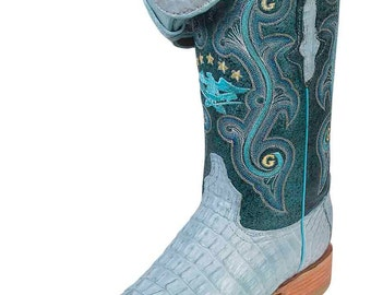 the general boot Cowgirl exotic to 6761-R skin alligator tail baby blue ID 11