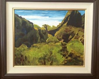 Original Oil Painting Landscape Cliffs and Ocean