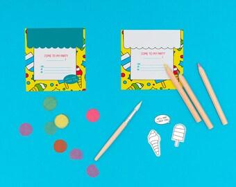 PRINTABLE INVITATION, icecream, ice cream party, instant download, printable invitation, icecream party invitation, coloring invitation, DIY