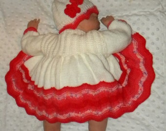Hand Knitted Baby Set, Matinee Coat, Hat & Booties 0-6 months