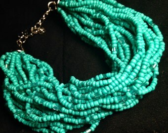 Turquoise beaded bracelet lobster claw clasp