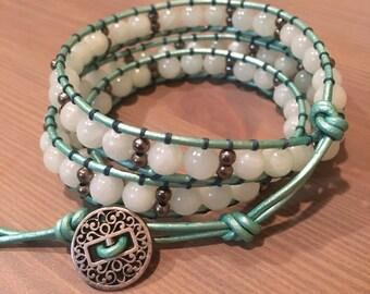 Aqua Jade Wrap Bracelet