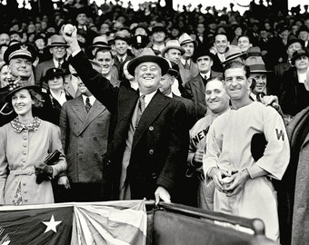 President Franklin D. Roosevelt Throws Out the First Pitch in 1936 - 5X7, 8X10 or 11X14 Photo (AZ191)