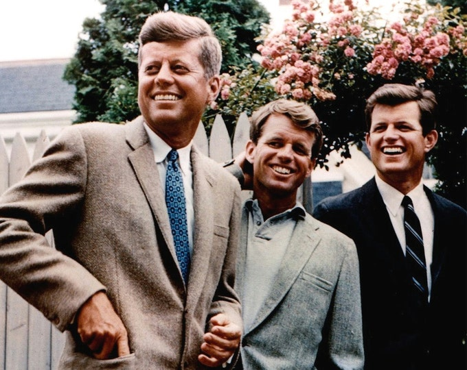 Senator John F. Kennedy With Brothers Robert and Edward in July, 1960 - 5X7 or 8X10 Photo (AA-414)