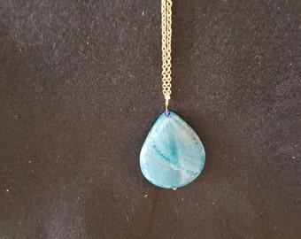 Blue pear shape agate