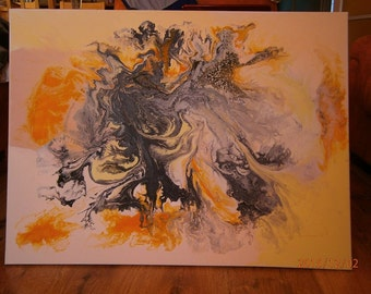 """Acrylic abstract painting 24""""x 32"""" /60x80 cm on canvas -Vortex of Life"""