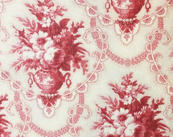 Fabric by the yard, 1 yard, Off White w/Mauve Flower Vase (repeated) print, 100% Cotton, SGScraftsupplyshoppe