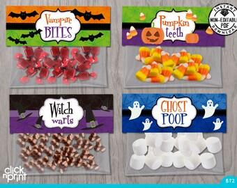 Halloween Print Yourself Bag Toppers, Halloween Decoration, Halloween Printables