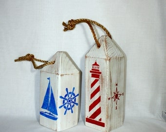 Wooden Buoy set of 2, Handmade, Nautical Home Decor, Beach House, Father's Day Gift