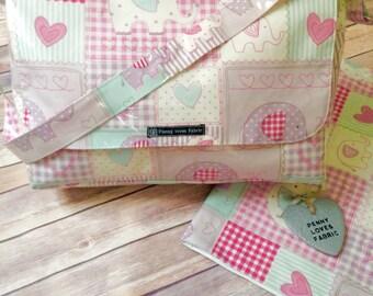 Girl diaper bag, elephant baby bag, baby girl diaper bag, elephant nappy bag, pink nappy bag, lilac diaper bag, elephant diaper bag,