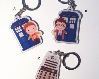 Doctor Who Tardis Dalek Keychain Charm