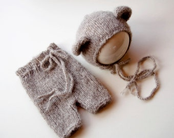 Newborn - bonnet / panties bear hand - knitted Alpaca/silk material