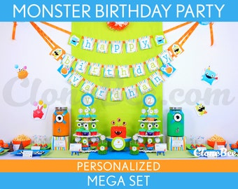 Monster Birthday Party Package Collection Set Mega Personalized Printable // Monster - B5Pz2