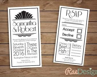 Printable Art Deco Wedding Invitation and RSVP Set