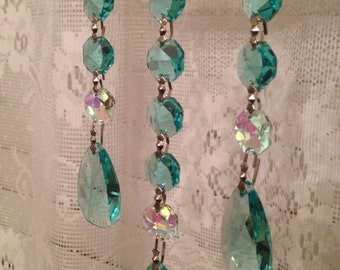 3 Strand Aquamarine and AB FULL LEAD Crystal Suncatcher