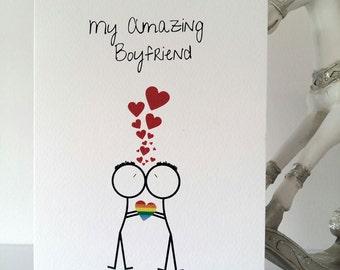 Gay Boyfriend Happy Birthday, boyfriend, birthday, gay, samesex, mr&mr, love, lgbt, handmade, ireland