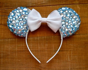 Cinderella Jeweled Disney Ears, Blue and Silver Bedazzled Ears, Mickey Mouse ears, Rhinestone Disney ears