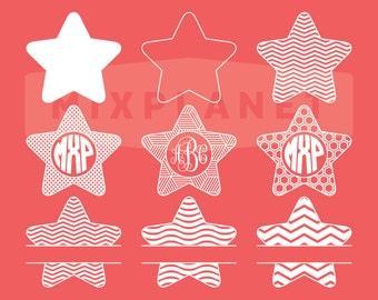 Stars SVG Files | Stars DXF PNG File | Star Vector File | Stars Monogram Cricut Die Cut Machine, Silhouette Vinyl Cutter, Instant Download