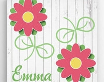 Flowers Kids Personalized Canvas Sign