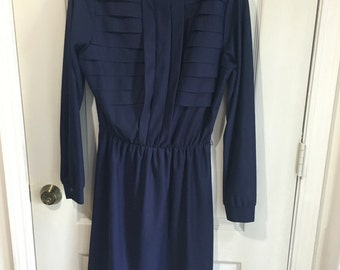 Navy Blue Ruffled Collar Dress