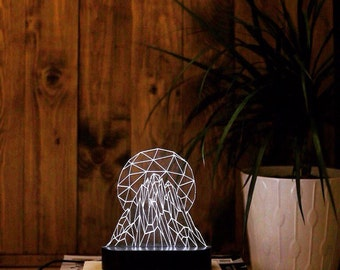 mountain sun acrylic 3d led table lamp bedroom night light bedside night lamp