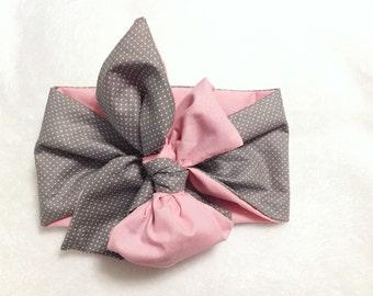 Pink & Gray polka dots head wrap