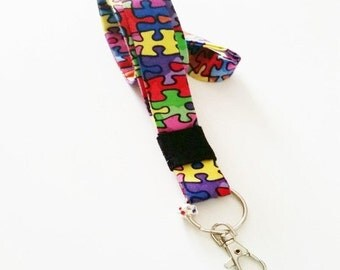 Autism Awarness Lanyard with multi colored charm,Autism,ID Badge , Keychains and Lanyards, Card ID Holder ,ID Badge Holder ,Name Badge