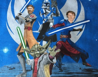 Star Wars The Clone, blue color,  flat sheet, full sizes, vintage