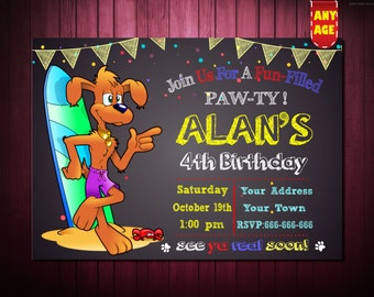 Puppy Birthday Invitation,Printable Dog Invitations,Puppy Party Invitation, Dog Birthday Invitation,1st 2nd 3rd 4th 5th 6th 7th kids party