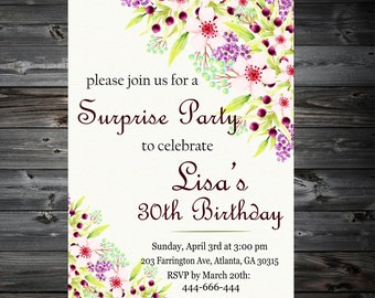 30th birthday invitation women,WATERCOLOR INVITE,Thirty and fabulous,Women 30th 40th 50th 60th 70th Any Age Bday Invite,30th Invitation