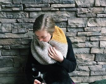 Classic Cowl Scarf // Mustard + Speckled Cream // Made to Order