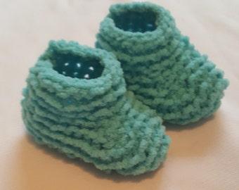 Blue Newborn Hand Knit Baby Booties