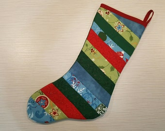 Quilted Christmas Stocking - Blue/Green/Red