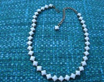 1950's White glass stone Coker necklace
