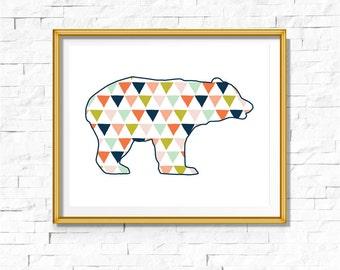 DIY Tribal Nursery Print | Woodland Print | Bear Art Boho | Bohemian Nursery Decor | Wall Art Printable | Bear Geometric Triangle | Bodhi