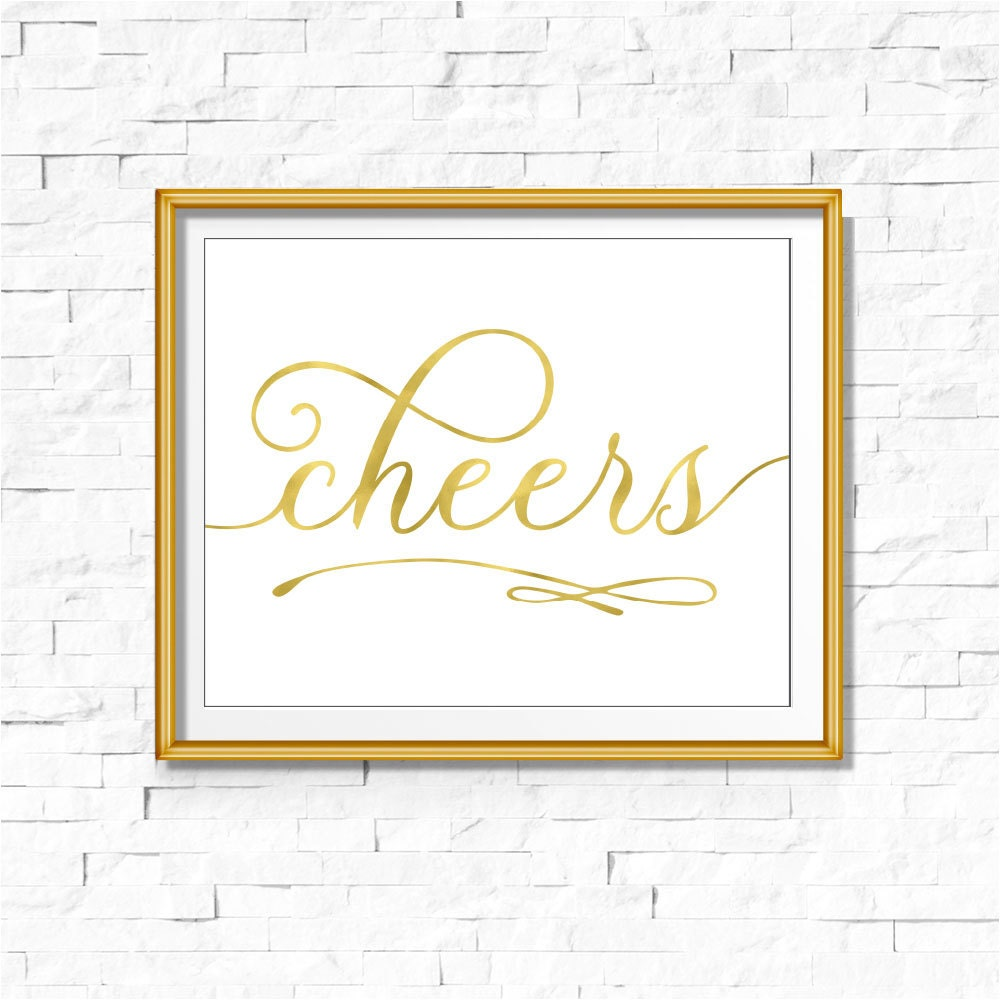 Gold foil calligraphy cheers sign diy printable instant