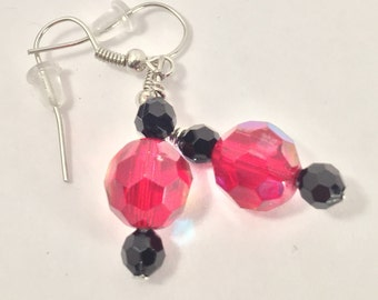 Black and Red Crystal Earrings