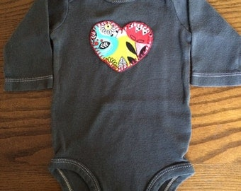 Heart Hand Dyed, Hand Stitched Bodysuit 3 months -- Upcycled