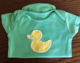 Duckie Hand Dyed, Hand Stitched Bodysuit 3 months -- Upcycled