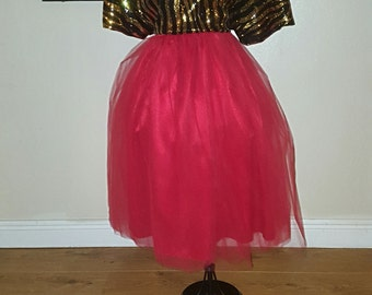 Plus Size Red Tulle Skirt
