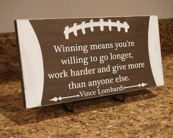Football sign. Football distressed wood sign. Vince Lombardi quote. Boys room decor. Sports sign. Football decor. Sports sign.