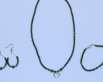 Moss Agate Jewelry Set