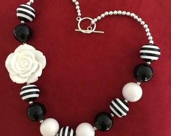 Black and White Bubblegum Flower Necklace