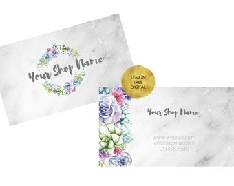 Floral business card, succulents business card, printable business card, vistaprint, business card design, premade business card, floral