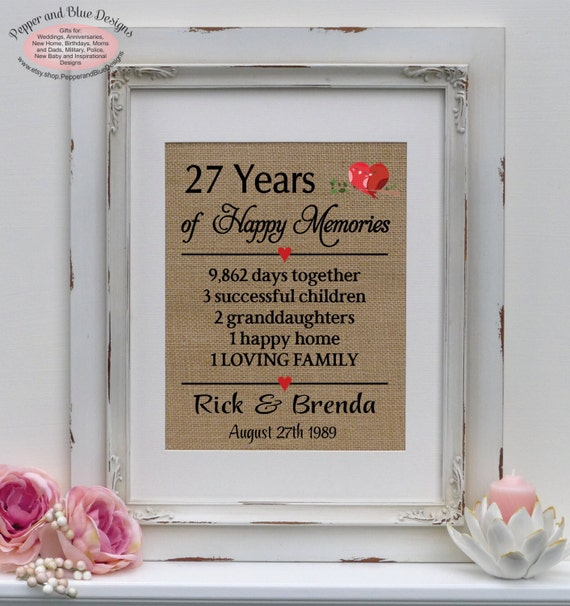 Wedding Gift 27 Years : 27th wedding anniversary, 27 years married, 27 years together ...
