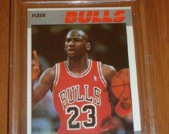 Michael Jordan 1987-88 Fleer #59 Second Year Card - Graded Beckett BGS Ex/Mt 6 - Looks Mint !
